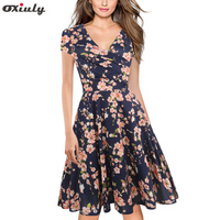 Oxiuly Womens Dark Blue Floral Print Dress Summer Sexy V Neck Short Sleeve Party Female Vintage