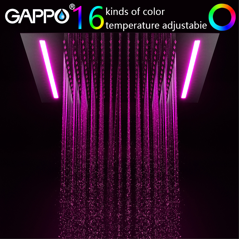 GAPPO shower head 500mm*360mm Water Powered Led rainfall shower set waterfall bathroom faucet bath mixer atomizing and rainfall water function bathroom products 20 inch bath shower head thermostat bath bathroom shower faucet set