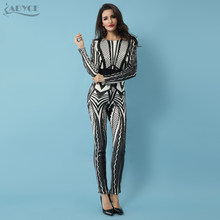 Adyce 2019 Hot Sale New Women Jumpsuit Sexy Long Sleeve Bodysuit Sequins Patchwork Mesh Celebrity Party Long Jumpsuit Rompers(China)