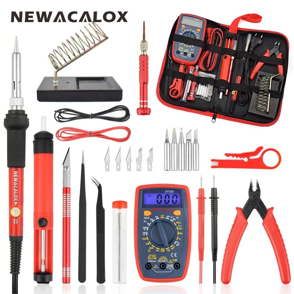 NEWACALOX 60W EU Electronics Soldering Iron Tool Kit Adjustable Temperature Welding Tool with Digital Multimeter Tool Carry Bag