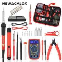 NEWACALOX EU/US 60W Kit de fer à souder électrique multimètre numérique pince à épiler pompe à dessouder soudure outils de réparation
