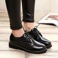 Mulheres nova Moda Chegada Sapatos Botas para Meninas de Salto Baixo bomba de Sapatos de Couro Mulher Bota dedo do pé Redondo Outono Casuais Militar botas