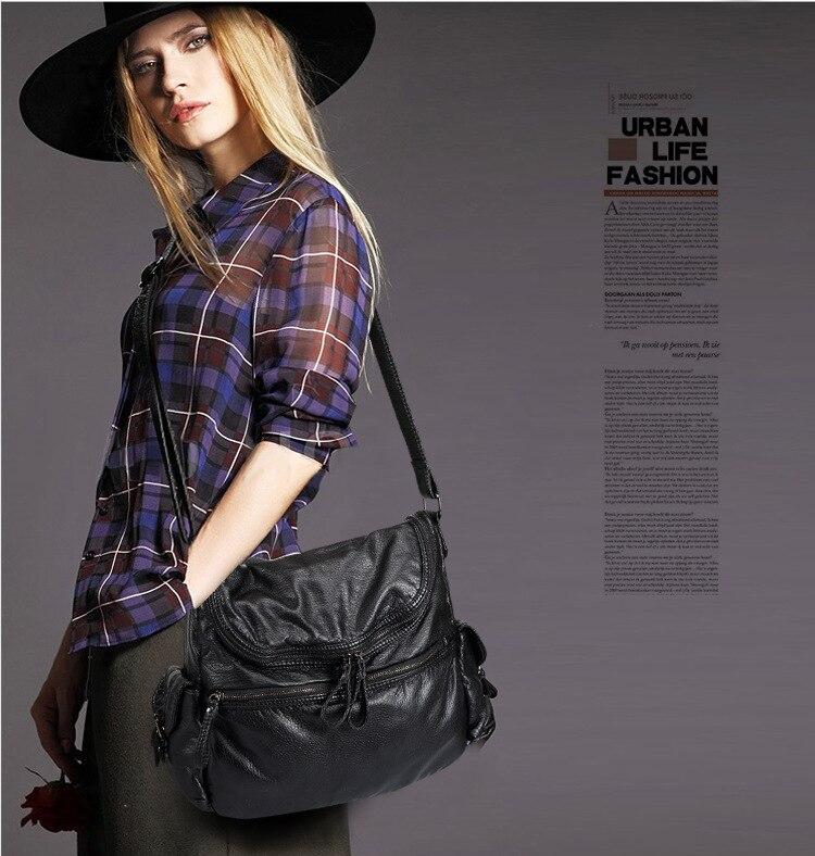 Aliexpress.com : Buy Soft Leather Big Women Messenger Bags Soft ...