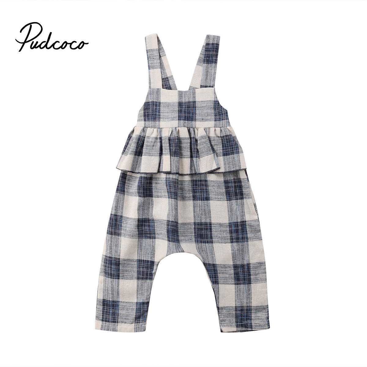 2-8Y Toddler Kids Baby Girl Sleeveless Backless Ruffles Plaid Overalls Jumpsuit One Pieces Princess Children Clothes one-piece garment