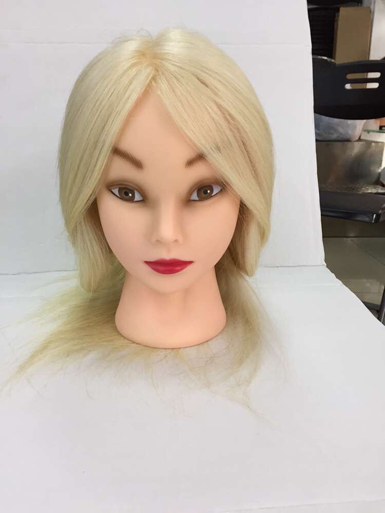 100% Human Hair Training Head Hairdressing Practice Training Mannequin Doll Head with White 16inch Hair