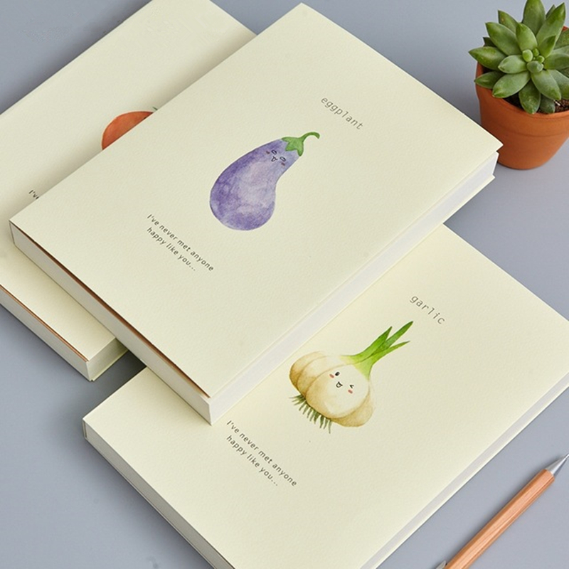Vegetables Painting Notebook A5 Creative Blank Sketchbook School Supplies Stationery Notepad Thicken Painting Diary Notebooks cute akita dog simple diary notebook a5 plastic sleeve waterproof notebooks stationery school supplies life learning notepad
