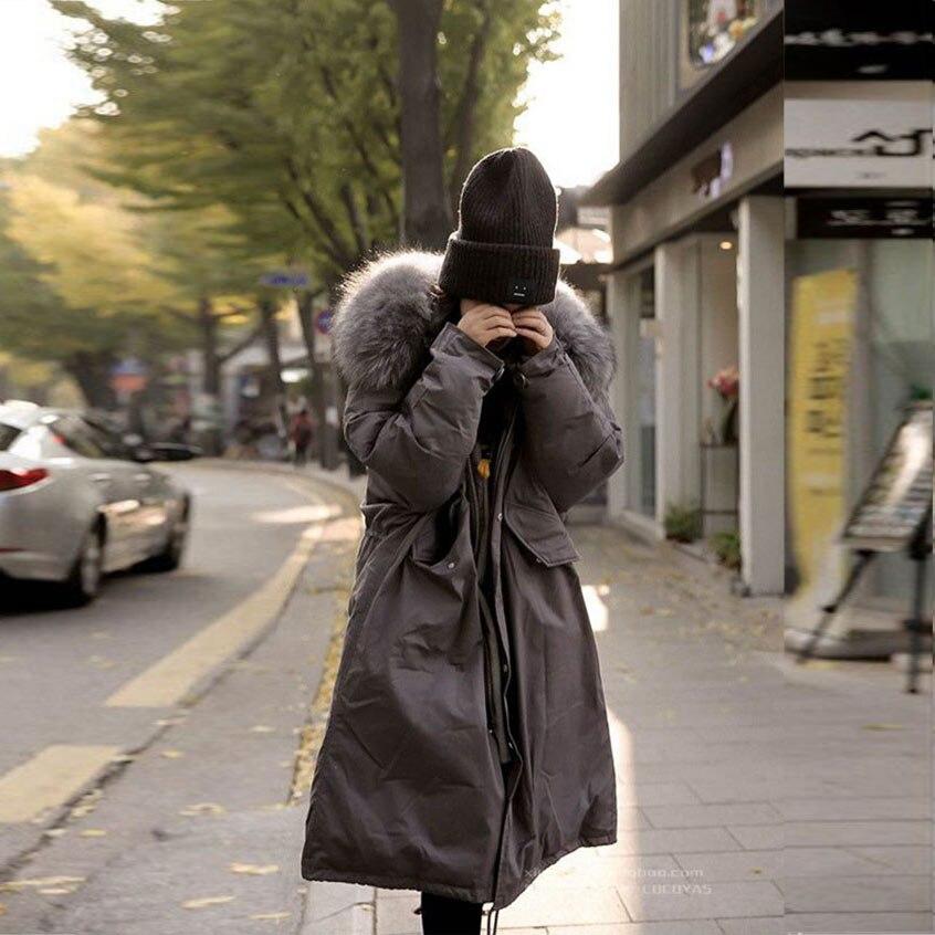 YUS large size 2017 winter women coat full sleeve zipper fur hooded decorated loose irregular tailoring robe coat thicken jacket цена