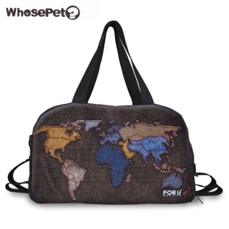 Wholesale 3D Map Travel Bag Canvas Men Womens Travel Duffle Bags Ladies Handbag Baggage Bags Shoulder Bags For Girls WHOSEPET