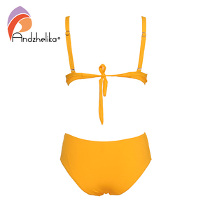 Image 2 - Andzhelika Yellow Solid Bikinis Women Sexy Bandage Bikini Set Swimsuit Push Up Bikini Bathing Suit Swimwear Female Biquini