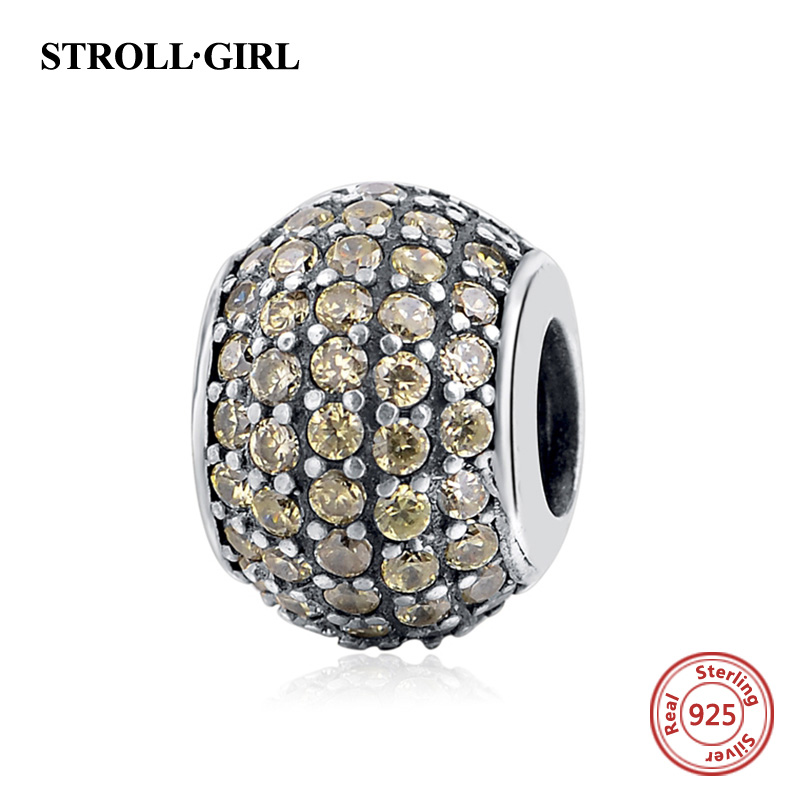 StrollGirl 925 sterling silver charm round beads with light brown color CZ fit original European charms bracelet fashion jewelry