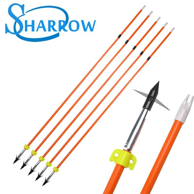 6/12pcsBlack Arrowhead Shot Fish Arrow Fiberglass OD7.8mm Fix Fishing  Slide Hunting Accessories