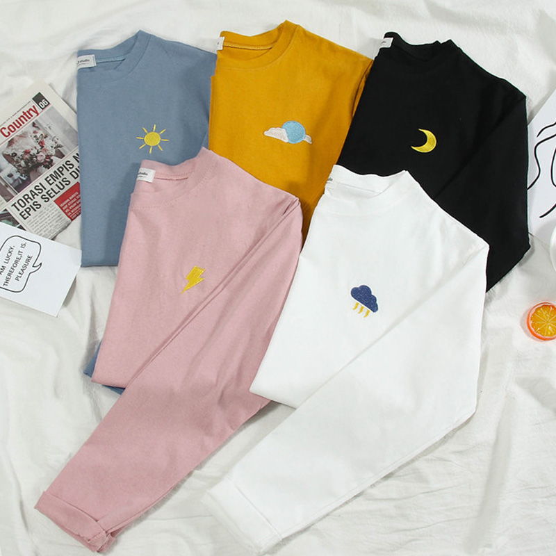 Harajuku Weather Embroidery T Shirt Spring Autumn Long Sleeve Casual Loose Tshirt Korean Ulzzang Women T-shirts Pink White Tops
