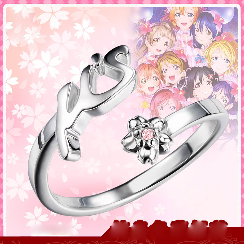 цена на Anime LoveLive Jewelry !Nico Yazawa Ring 925 Sterling Silver Sakura Ring Adjustable Inner Perimeter 53-58mm for Women Girl Gift