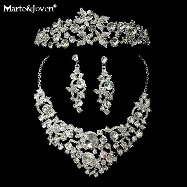 New Fashion Butterfly Bridal Jewelry Set Tear Drop Luxurious Crystal Pendant Necklace/Earring/Tiara Wedding Accessories