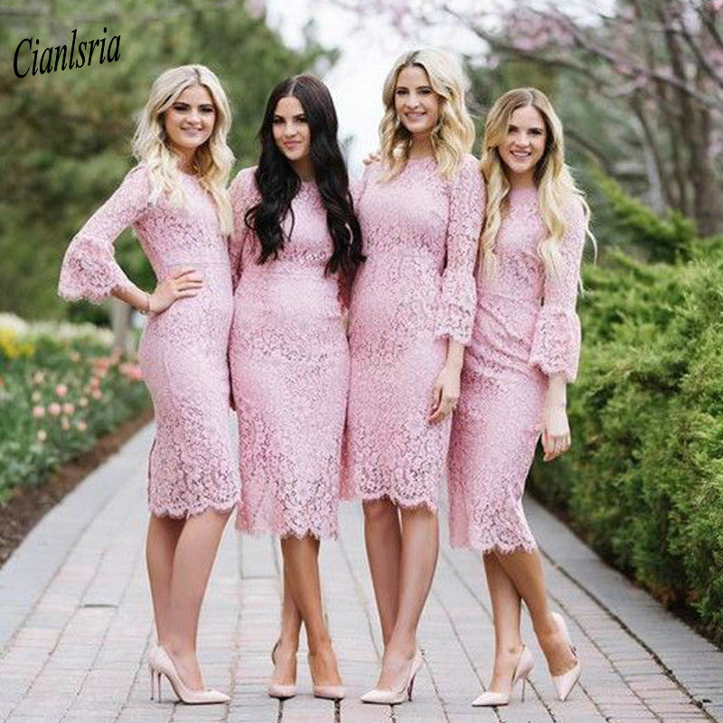 Pink Full Lace Knee Length   Bridesmaid     Dresses   Three Quarter Sleeve Short Wedding Guest   Dress   For Wedding Party robe demoiselle