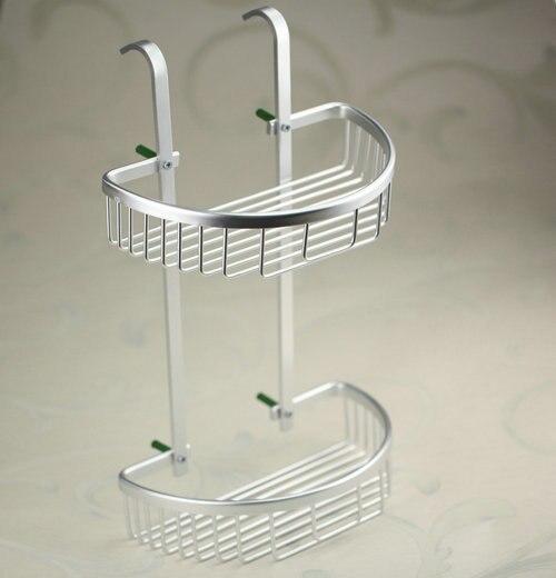 ФОТО New Utility Dual Tier Angle Valve High Quality Space Aluminum Bathroom Shelf Thickening Towel Rack Shelves Kitchen Shelf