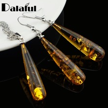 Women's Chic Tear Drop Baltic imitation Pendant Necklace Earring Wedding Jewelry Set L40601