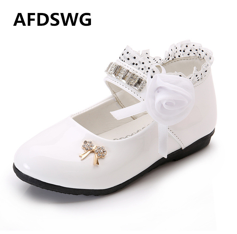 AFDSWG spring and autumn leather shoes kids white flowers lace princess-shoes, shoes children girls children leather shoes
