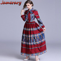 National Trench Vintage Long Dress Women Runway 2018 Autumn Dresses Floral Print Lace Up Circles Stripe Long Sleeve Maxi Dress