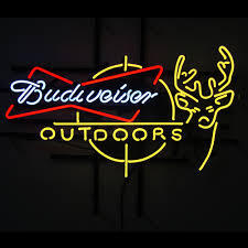 Budweiser Outdoors Deer Glass Neon Light Sign Beer Bar