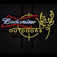 Budweiser Outdoors Deer Glass Neon Light Sign Beer Bar