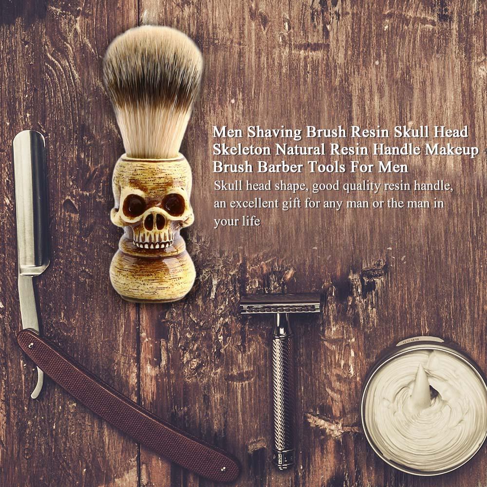 men shaving brush resin skull head skeleton natural resin handle