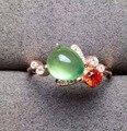 Natural green пренит Кольцо Природных драгоценных камней Кольцо S925 стерлингового серебра модные Роскошные Симпатичные пчелы женщин девушка Ювелирных Изделий партии
