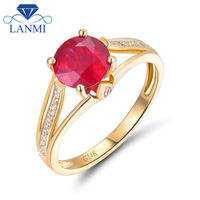 Good Natural Round 7mm Gemstone Design Solid 14K Yellow Gold Diamond Ruby Anniversary Rings for Party Jewelry
