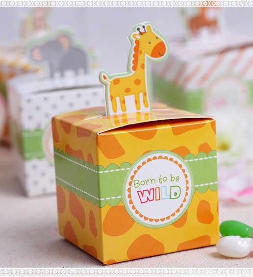 1pcs-12pcs Safari Party  Gift Box Birthday Party Decoration Baby Shower Birthday gift bags birthday Boy Girl Candy Box Gift Box