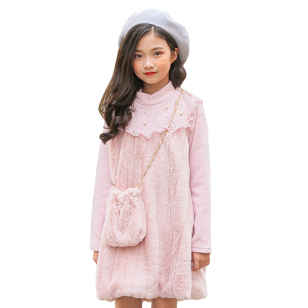 artificial fur girls thick warm dress age for 4 - 14 yrs teenage girls long sleeve party frocks for big girls princess costume children clothes knit 2pcs set age for 4 14 yrs teenage girls winter thick warm school style outfits long sleeve sweater pants