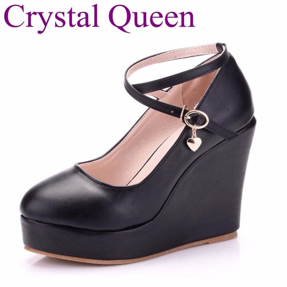 Detail Feedback Questions about Black Elegant wedges shoes wedges pumps for  women platform high heels round toe white high heels shoes platform wedges  shoes ... 0f796d47022f