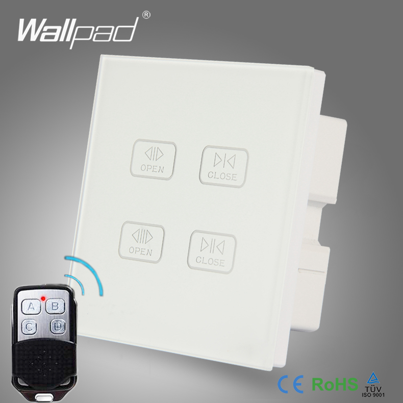 Remote 4 Gang Curtain Switch Wallpad White Crystal Glass Wireless Touch Screen Double Curtain Window Shutter Blinder Wall Switch 4 gang curtain switch wallpad black tempered glass switch 4 gang touch double curtain window shutter blinder wall switches