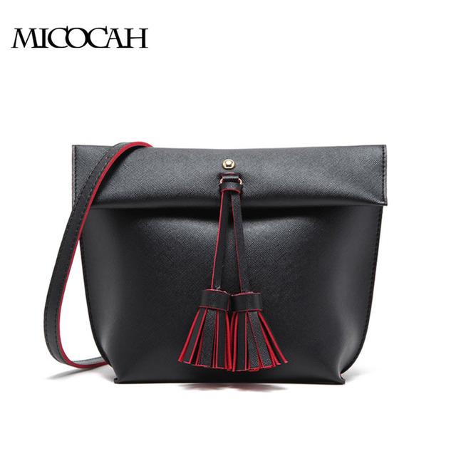Micocah marca mulheres bolsas de ombro pu de couro com borla elegante cor sólida mulheres messenger bag senhoras gl30022