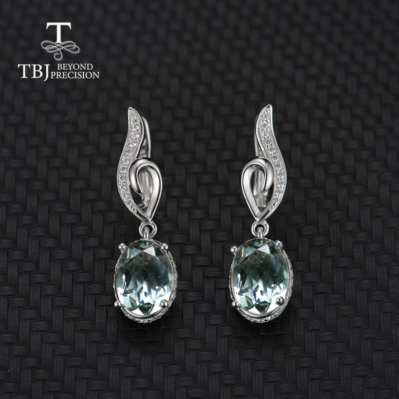 TBJ Natural green amethyst oval 7 9mm earring gemstone 925 sterling silver fine jewelry simple design