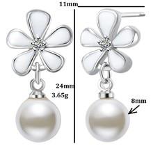 Wedding Simulated Pearl Earings Fashion Korea Hanging Drop Long Flowers Earrings Cz Diamonds With Imitation Pearls CS05-4