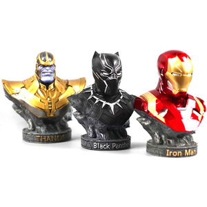Image 4 - The Avenger 3 iron man black panther thanos statues for decoration 18cm resin statuette collectible action figures gifts