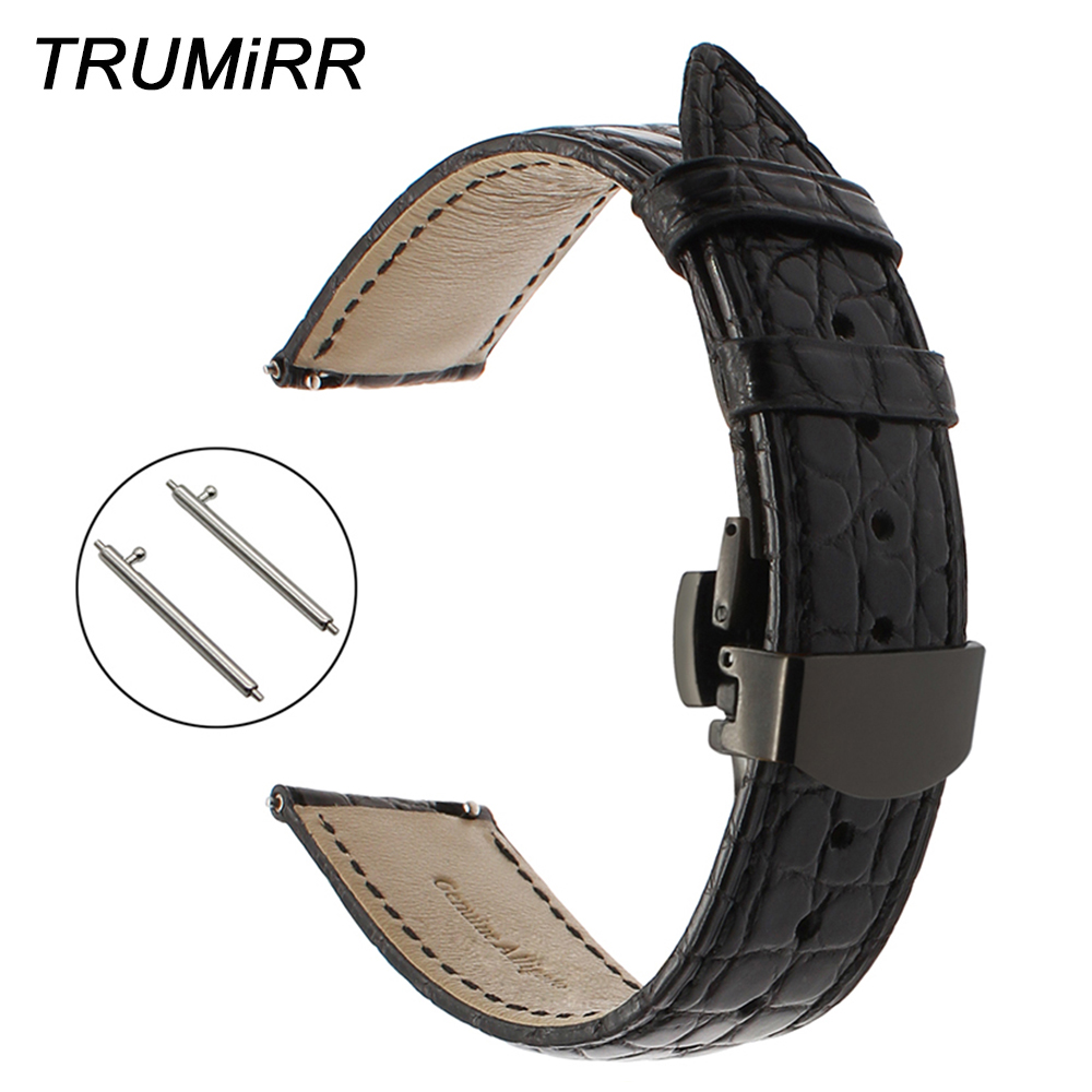 22mm Genuine Alligator Leather Watchband for Pebble Time Samsung Gear 2 Neo Live Moto 360 2 46mm Quick Release Band Watch Strap 22mm silicone rubber watch band wrist strap for samsung gear s3 classic frontier gear 2 neo live moto 360 2 46mm men pebble time
