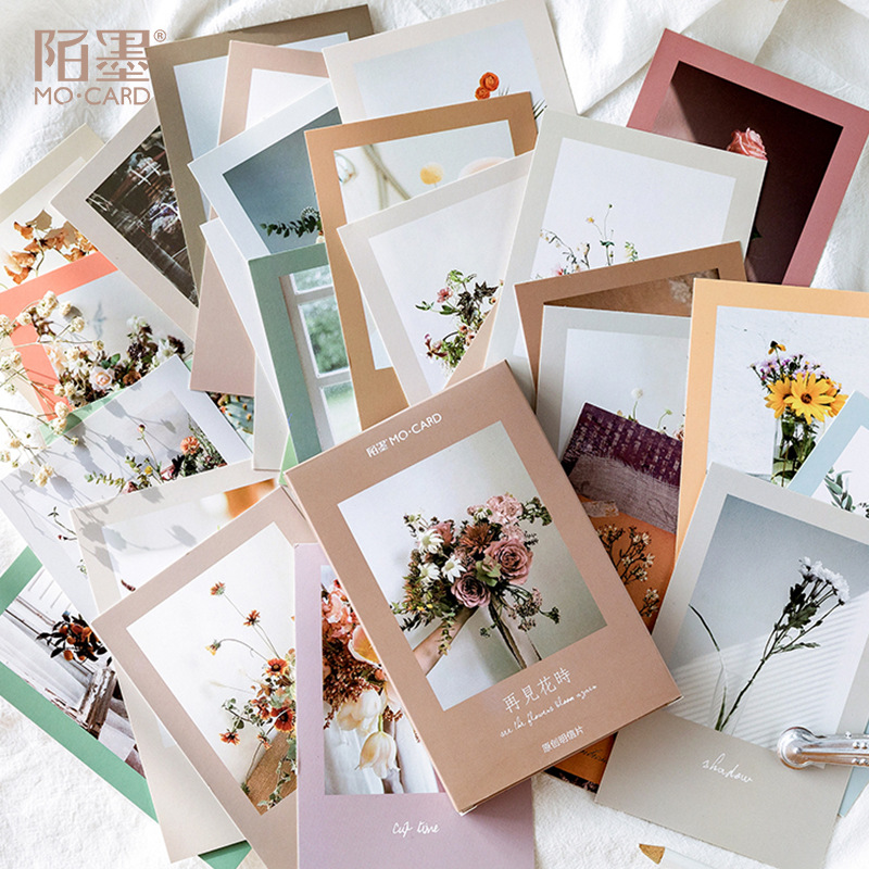 30 Pcs/pack See You Flower Time Greeting Card Vintage Postcard Birthday Letter Envelope Gift Card Set Message Card