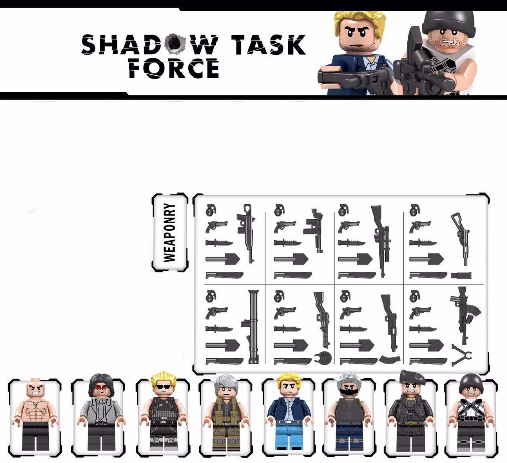 Shadow Task Force MILITARY SWAT Soldier World War 2 Army Weapon Gun Building Blocks Figures Bricks Boy Educational Toy Kid Gift gonlei 6pcs german army world war 2 waffen ss military swat soldier weapon gun building blocks bricks boy toy gift legoingly