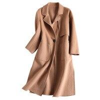 Европейские и американские Женская одежда осень зима новый 100% австралийской шерсти ручной двусторонние пальто средней длины пальто