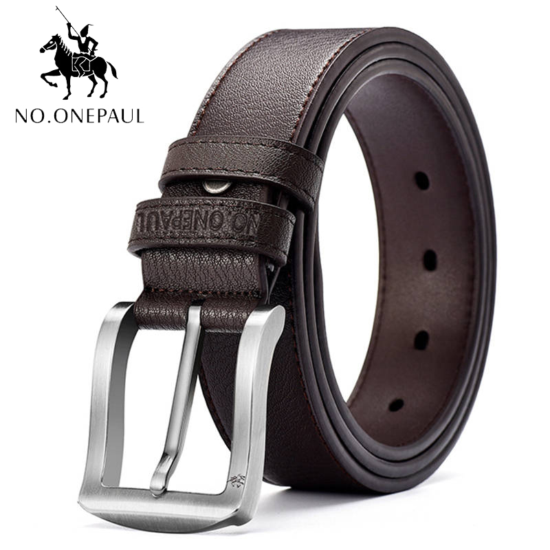 NO.ONEPAUL Fashion Belt Pin Button Genuine Cowhide Leather Belts For Men Brand Strap Male Pin Buckle Fancy Vintage Jeans Cintos