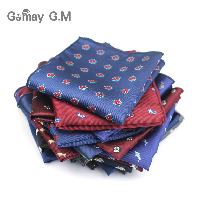 Brand Mens Handkerchief Pocket Animal Pocket Square Business Suits Chest Towel Hanky Gentlemen Polyester Yarn Suit Hankies
