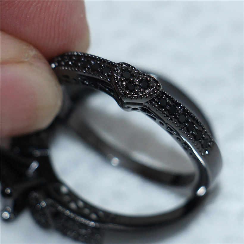 Fashion Tiga-Jantung Disimulasikan Diamond Cincin Set Perhiasan CZ Abadi 10 K Hitam Emas Cincin Pernikahan untuk Wanita ukuran 5-10