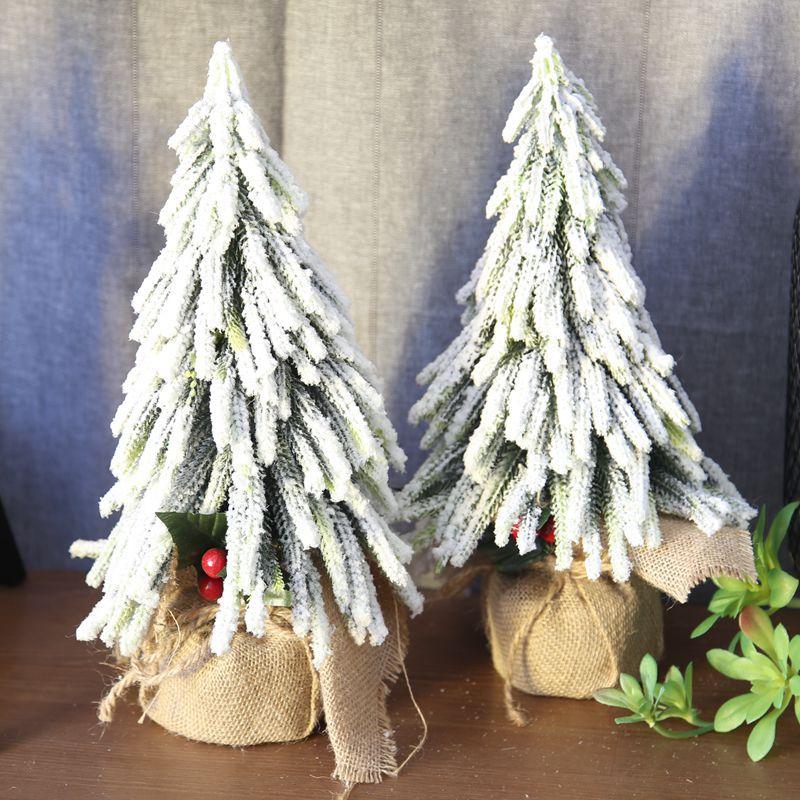 Mini Christmas Tree 33CM Green Snow Artificial Christmas Trees Small DIY Decorative Trees Home Wedding Party Decoration