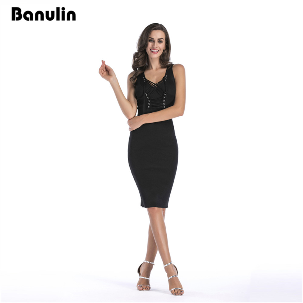 Banulin Women Sexy Sweater Dress 2017 Autumn Winter Fashion V Neck Bodycon Basic Mini Solid Color
