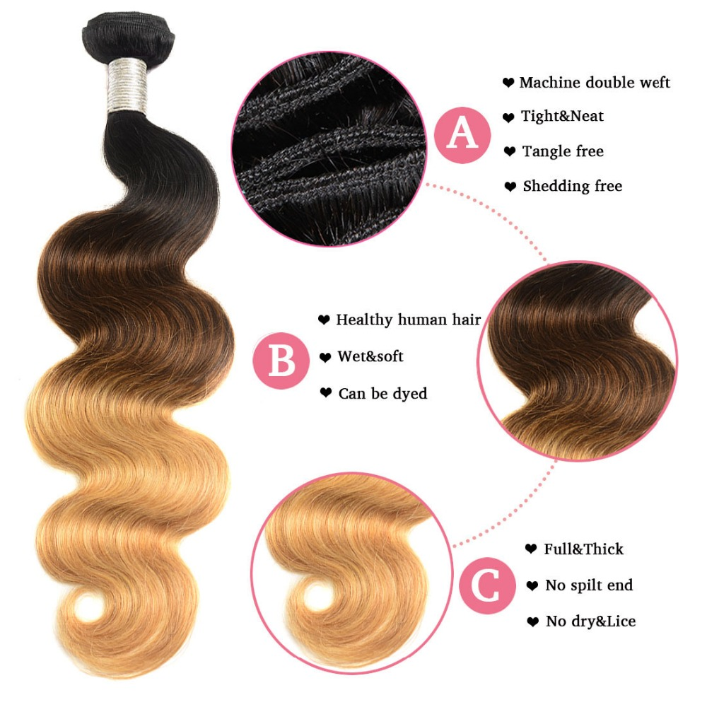 1b 4 27 Brazilian Body Wave Ombre Bundles With Closure Pre Colored Hair Weaves 3 Bundles With Closure Human Hair Remy May Queen in 3 4 Bundles with Closure from Hair Extensions Wigs