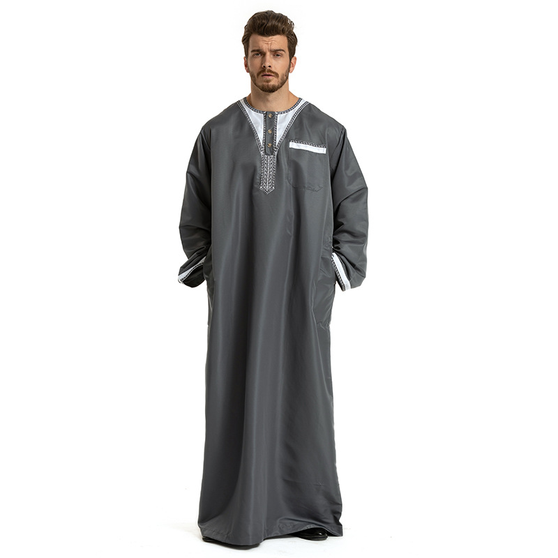 88b6444086 US $31.15 18% OFF Patchwork White Yellow Gray Man Islamic Clothing Pakistan  Islamic Mens Thobe Plus Size 3XL Saudi Arabia Ropa islamica hombre-in ...