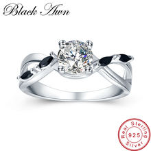 [BLACK AWN] 2.8g 925 Sterling Silver Jewelry Black Stone Engagement Ring Bague Wedding Rings for Women C417
