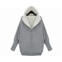 Cheap wholesale 2016new Autumn Winter Hot sale women's fashion casual plus big size thick hooded bat sleeve zippers sweatshirt