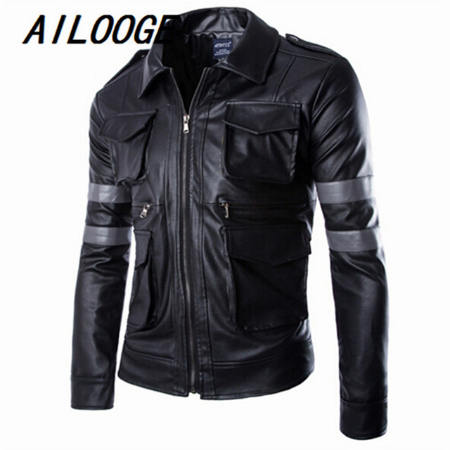 2016 New Men Motorcycle Leather Jackets and Coat Fashion Chaqueta Moto Jaqueta Motoqueiro Mens Casual Quilted Leather Jacket